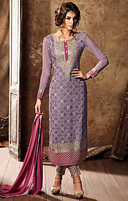 Aesthetic Purple Aline Georgette Latest Pakistani Suit