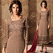Decent Brown Aline Georgette New Pakistani Suit