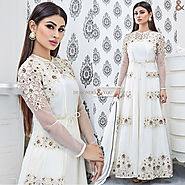 Chic White Embroidered Georgette Celebrity Mouni Roy Suit