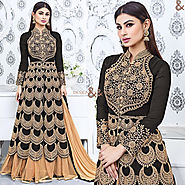 Captivating Black Embroidered Georgette Bollywood Suit Starring Mouni Roy