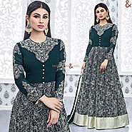 Enchanting Green Embroidered Georgette Bollywood Dress Starring Mouni Roy