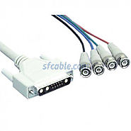 6ft DB13W3 Male to 4 BNC Male Cable with Ferrites | SFCable