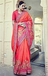 Ingenue Orange Embroidered Silk Half Sari Design