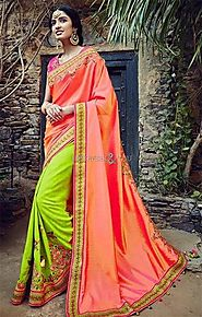 Ineffable Orange And Dark Olive Embroidered Silk Half Saree Design