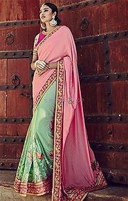 Ravishing Pink And Green Embroidered Silk Half And Half Sari