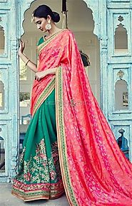 Beautiful Green And Orange Embroidered Silk Half Saree