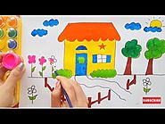 How To Draw and Paint House, Tree In The Garden