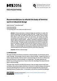 Recommendations to rebuild feminist work in industrial design
