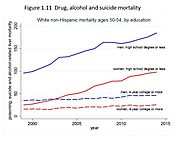 Poisoning, suicide and alcohol-related liver mortalities are increasing dramatically.
