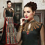Irresistible Black Embroidered Silk Party Gown Online India