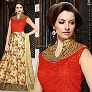 Decent Beige,Red Embroidered Silk Indian Designer Evening Gown