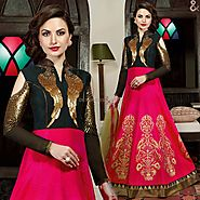 Alluring Pink,Black Embroidered Silk Indian Party Wear Gown