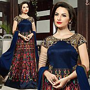 Elegant Blue Embroidered Silk Long Indian Designer Gown