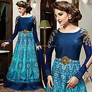 Pretty Sky Blue,Blue Embroidered Silk Indian Evening Gown For Wedding Reception