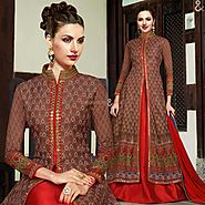 Pleasing Brown Embroidered Silk Designer Indo Western Gown