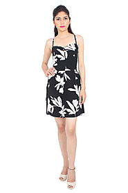 Buy Dresses & Gowns - Monochrome Floral Love Dress Online for 1599 Rs.@ FleAffair