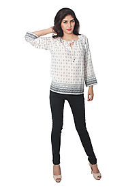Buy Tops & Tees - White Printed Top Online for 599 Rs.@ FleAffair
