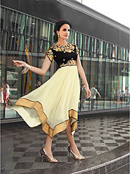 Buy Long Kurtis - Western Style Black And Off-white Kurti Online for 1399 Rs.@ FleAffair