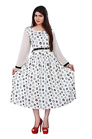 Black & White Printed Rayon Stitched Kurti Online for 1449 Rs.@ FleAffair