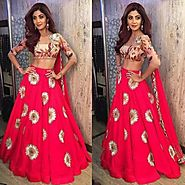 Buy Bollywood Lehengas - Pink Crape Lehenga Choli Online for 1499.00 Rs.@ FleAffair