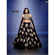 Buy Bollywood Lehengas - Black Coloured Bangalori Satin Accessorized Look 3 Piece Lehenga Online for 2300.00 Rs.@ Fle...