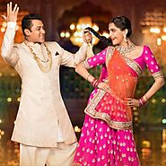 Buy Bollywood Lehengas - Pink And Orange Combination Bridal Lehenga Online for 2999.00 Rs.@ FleAffair