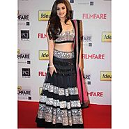 Alia Bhatt Black and Pink Lehenga
