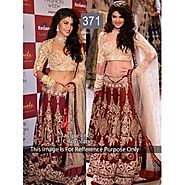 Buy Bollywood Lehengas - Jacquline Maroon And Gold Lehenga | Po-371-rc Online for 4332.00 Rs.@ FleAffair