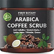 100% Natural Arabica Coffee Scrub 12 oz. with Organic Coffee, Coconut and Shea Butter - Best Acne, Anti Cellulite and...