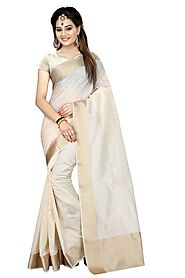 Indian Women Fashion White Cottan Silk Kanjivaram Style Saree