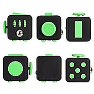 Oliasports Fidget Cube Relieves Stress And Anxiety for Children and Adults Anxiety Attention Toy (Black Green)