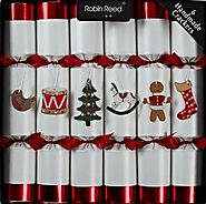 Set of 6 Luxury Christmas Crackers - White and Red Toy Chest Design by Robin Reed