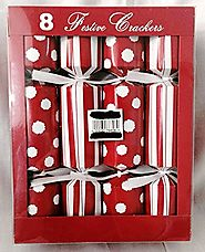 "Set of 8 Red & White Holiday Christmas, New Years, Stripes & Dots Crackers, Poppers, Favors 8"" Size"