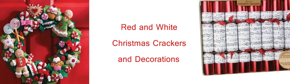 Headline for Red and White Christmas Crackers and Decorations