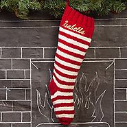 Striped Red And White Personalized Christmas Stocking Optional Personalization