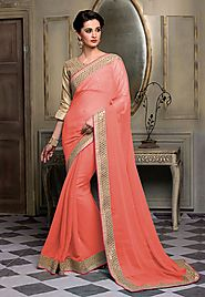 Orange Color Chiffon Designer Saree