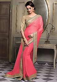 Pink Color Chiffon Designer Saree