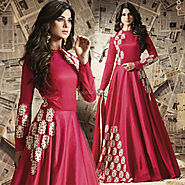 Smashing Red Embroidered Silk Designer Anarkali Suit Design