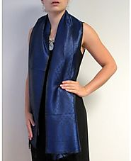 Navy And Black Silk Scarf Beauty at YoursElegantly