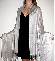 Online Upscale Evening Silver Shawl With Sparkles Divine - Yours Elegantly
