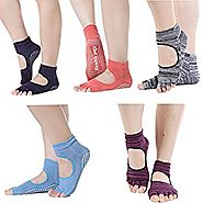5 Pairs Toe Yoga Pilates Socks Non Slip Skid Barre Sock with Grips for Women & Men