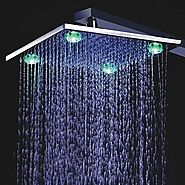 10 Inch Chrome Finish Brass Square Shower Head With 4 LED Lights