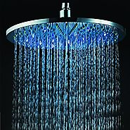 12 Inch Chrome Brass Shower Head with Color Changing LED Light