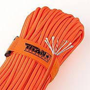 "TITAN SurvivorCord | SAFETY-ORANGE | 100 Foot Hank | Military 550 Paracord (3/16"" Diameter) + Fishing Line + Waxed Ju..."