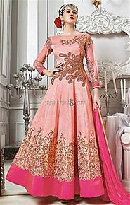 Aesthetic Pink Embroidered Silk Party Wear Anarkali Dress