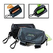 Mighty Paw Dog Poop Bag Holder, Premium Quality Pick-up Bag Zippered Pouch, Includes Carabiner Hook and 1 Roll of Pic...