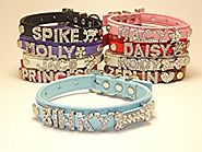 Personalized X-Mas or Regular Charm Custom Fashion PU Leather Classic Dog Cat Collar Swarovski Crystal Rhinestone Let...