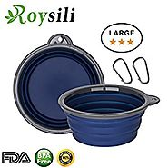 Roysili Large Size Collapsible Dog Bowl (7 inch Diameter,34 oz), FDA Approved BPA Free Silicone Travel Bowl for Dog C...