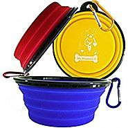 Mr. Peanut's Collapsible Dog Bowls, Set of 3 with Matching Carabiner Clips, Food Grade Silicone Portable Pet Bowls, P...
