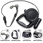 Dog retractable leash 26-feet (110 pounds) with LED Detachable Flashlight. HEAVY DUTY, NO TANGLE -Strong Nylon Lead-B...